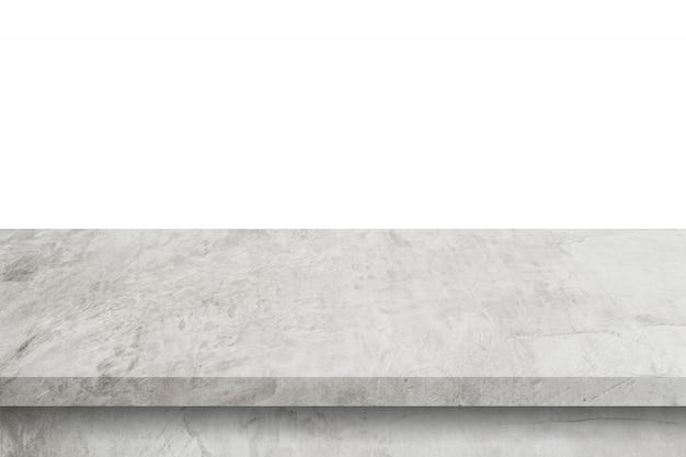 Mesa de cimento vazia no fundo branco isolado com espaço de cópia e montagem de exibição para o produto.