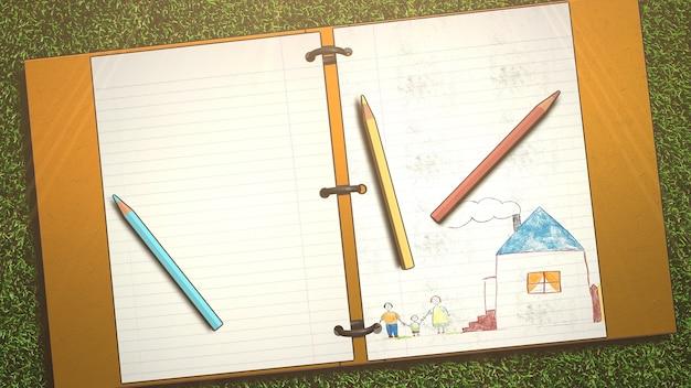 Mesa de closeup de aluno com caderno e lápis, plano de fundo da escola. ilustração 3d elegante e luxuosa do tema educação