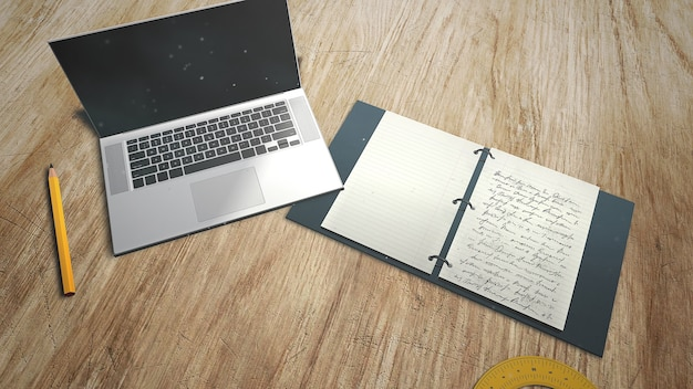 Mesa de closeup de aluno com notebook e laptop, plano de fundo da escola. ilustração 3d elegante e luxuosa do tema educação