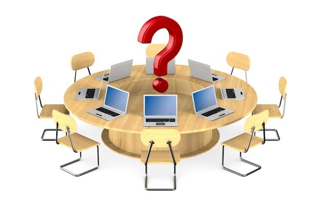 Mesa de conferência em fundo branco. ilustração 3d isolada