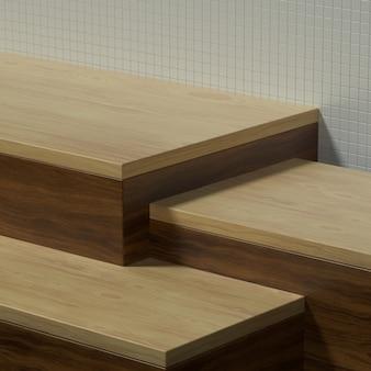 Mesa de cozinha de madeira vazia ou palco com parede de cerâmica para banner ou promoção de produto. ilustração 3d