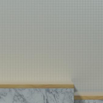 Mesa de cozinha vazia ou palco com ornamento de madeira e parede de cerâmica para banner ou promoção de produto. ilustração 3d