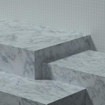 Mesa de cozinha vazia ou palco com parede de cerâmica para banner ou promoção de produto. ilustração 3d