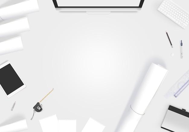 Mesa de design criativo com papel em branco whatman