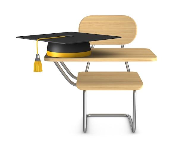 Mesa de escola e cadeira em fundo branco. ilustração 3d isolada