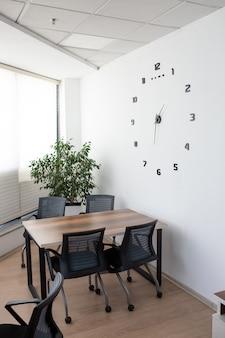 Mesa de escritório perto de parede branca com relógio