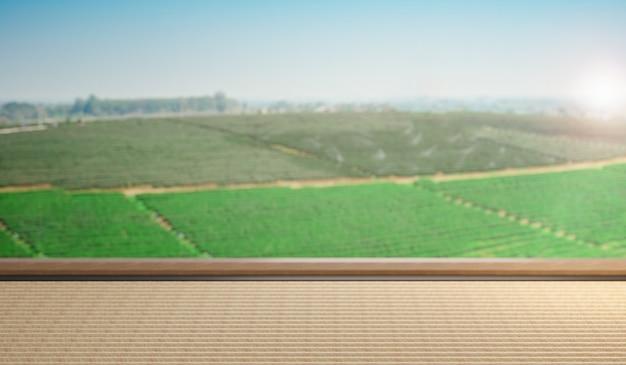 Mesa de esteira japonesa vazia para colocação de produtos ou montagem com foco no tampo da mesa em primeiro plano com fundo de paisagem de campo. renderização de ilustração 3d.