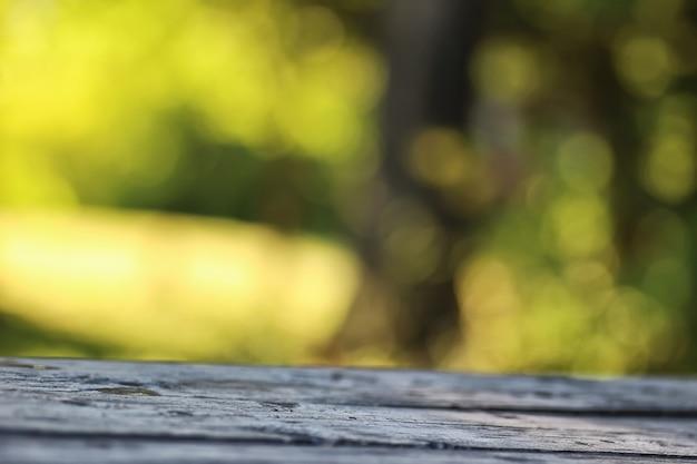 Mesa de fundo de madeira para bokeh ao ar livre