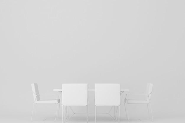 Mesa de jantar branca e cadeira de jantar renderização em 3d