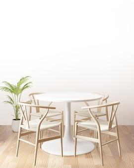 Mesa de jantar com parede vazia, vista lateral, renderização em 3d
