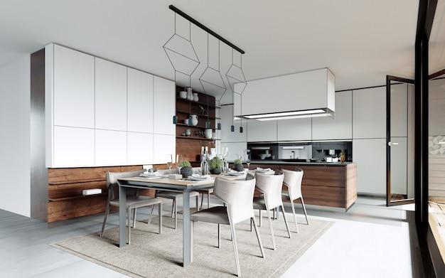 Mesa de jantar de design posta na cozinha. estilo contemporâneo.