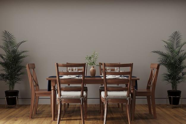 Mesa de jantar de madeira em uma sala de estar