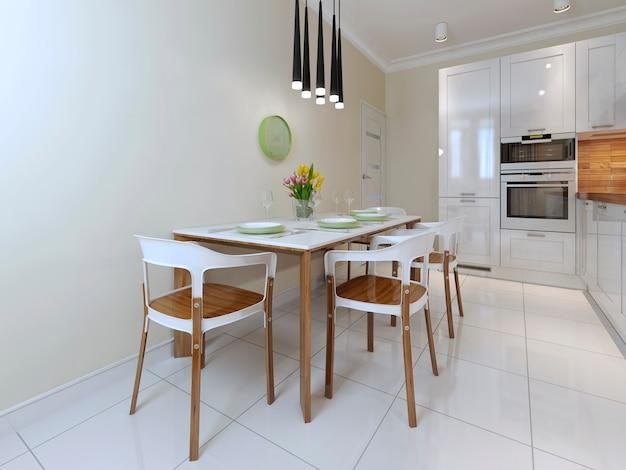 Mesa de jantar e cadeiras de estilo moderno