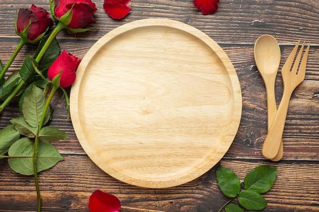 Mesa de jantar romântica conceito de amor