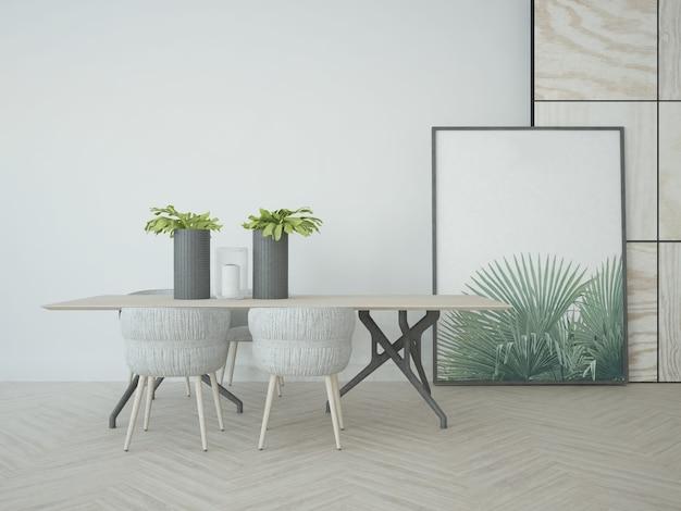 Mesa de jantar simples com cadeiras e pôster grande