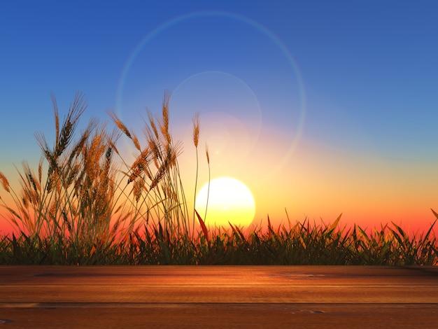 Mesa de madeira 3d com vista para o trigo ao pôr-do-sol