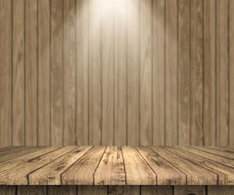 Mesa de madeira 3D olhando para fora