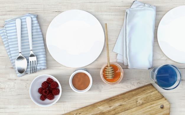 Mesa de madeira branca com café da manhã, tábua, bandeja de madeira, bebidas, frutas, panqueca e mel.