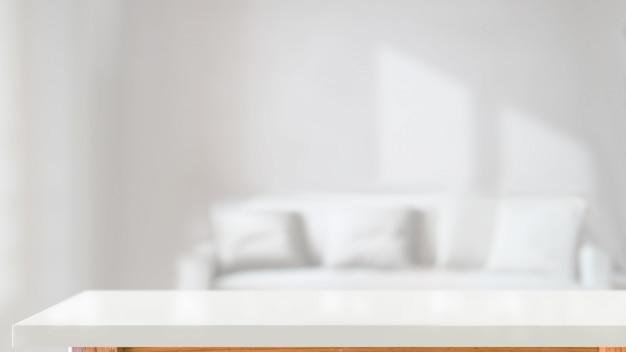 Mesa de madeira branca superior na sala de estar