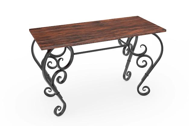 Mesa de madeira clássica vintage com pernas de ferro em um fundo branco. renderização 3d