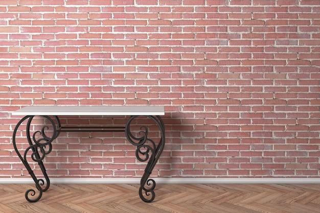 Mesa de madeira clássica vintage com pernas de ferro na frente da parede de tijolo vermelho. renderização 3d