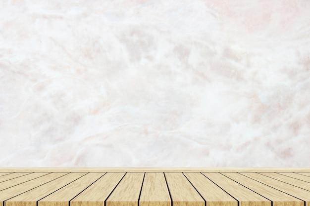 Mesa de madeira com fundo de textura de mármore