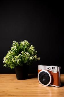 Mesa de madeira com planta e câmera