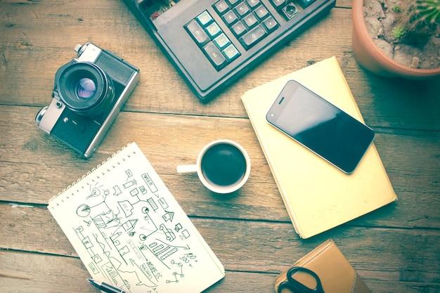 Mesa de madeira de trabalho - gráfico, cena, imagem, silêncio