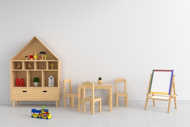 Mesa de madeira e cadeira na sala de criança para maquete