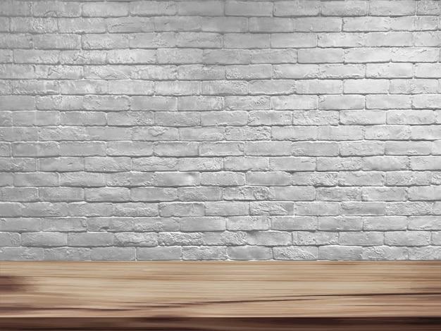 Mesa de madeira e fundo da parede de tijolo branco retrô