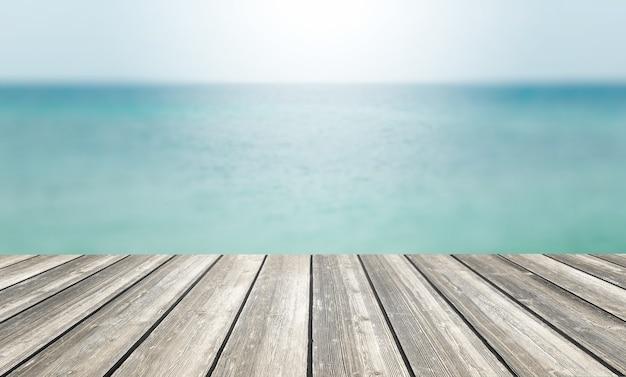 Mesa de madeira e mar azul borrado e fundo do céu Foto Premium