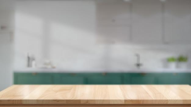 Mesa de madeira em branco ou contador no fundo da sala de cozinha