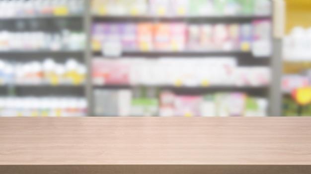 Mesa de madeira em fundo de farmácia ou drogaria com cópia vazia na mesa para exposição de produtos