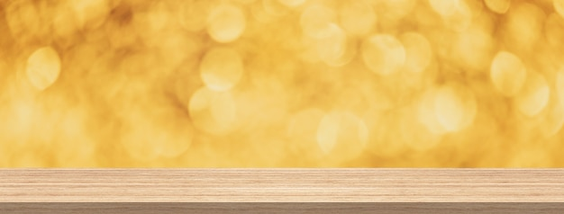Mesa de madeira, glitter dourados bokeh abstrato para produto e proibição de montagem de exibição