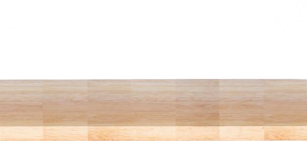 Mesa de madeira isolada no fundo branco