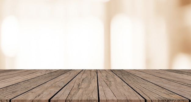 Mesa de madeira marrom com fundo de cor sépia luz turva