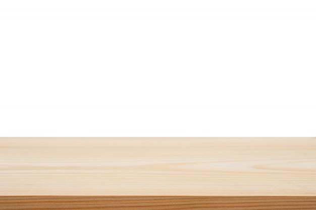 Mesa de madeira marrom vazia de perspectiva