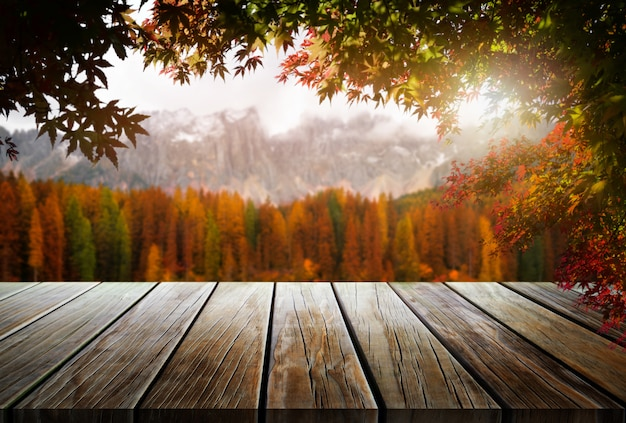 Mesa de madeira na paisagem de outono com espaço vazio.