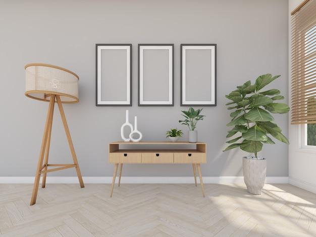Mesa de madeira na sala cinza com moldura e luminária de chão