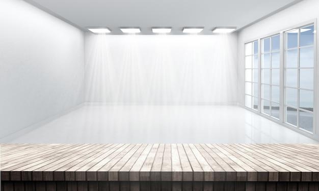 Mesa de madeira, olhando para uma sala branca vazia