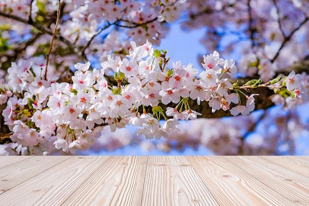 Mesa de madeira vazia com fundo de flor linda flor de cerejeira rosa na temporada de primavera