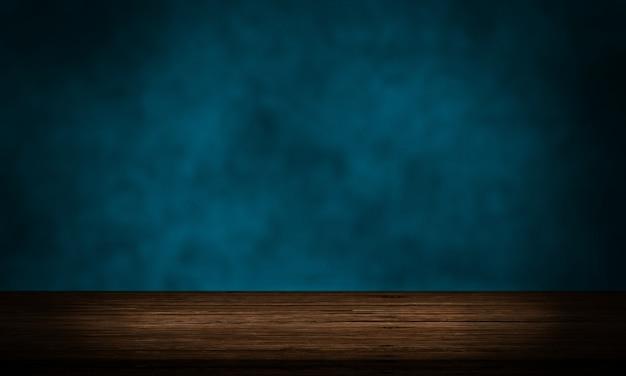 Mesa de madeira vazia com tela de pano de fundo de produto de parede azul grunge
