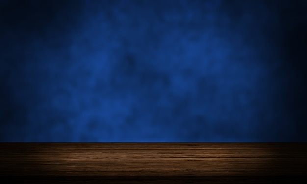 Mesa de madeira vazia com tela de pano de fundo de produto de parede grunge azul escuro