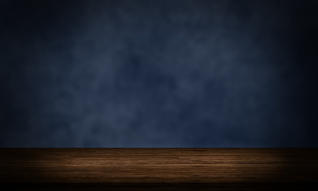 Mesa de madeira vazia com tela de pano de fundo de produto de parede grunge azul marinho