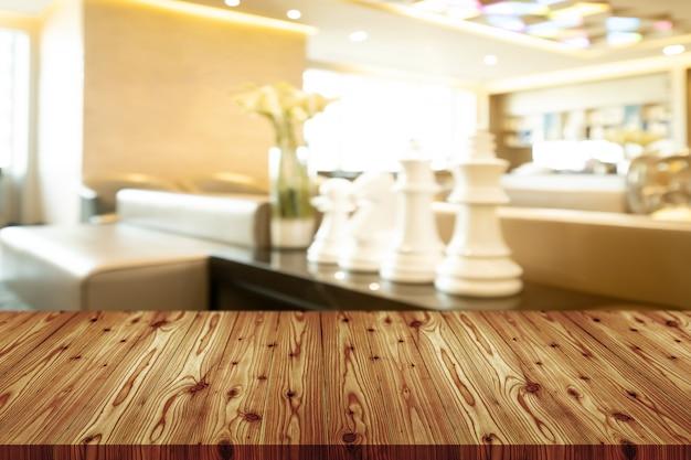 Mesa de madeira vazia com turva de café, café, bar