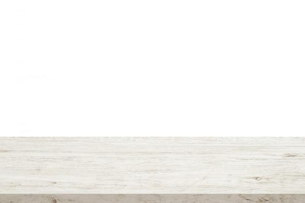Mesa de madeira vazia isolada no fundo branco
