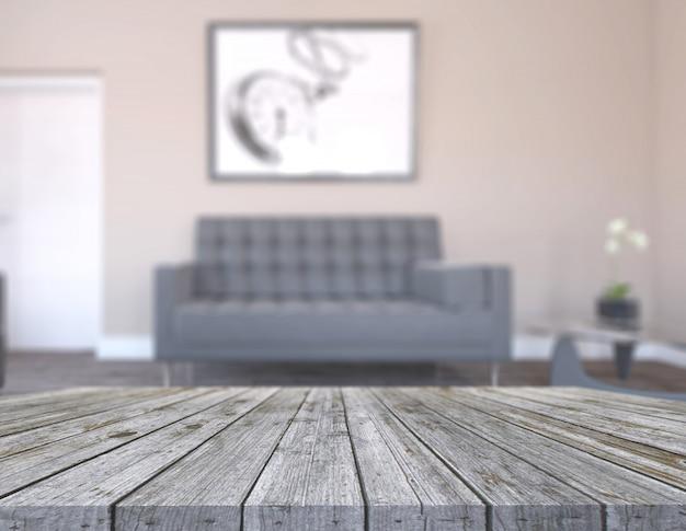 Mesa de madeira velha 3d