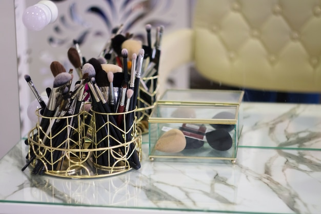 Mesa de maquiagem ferramentas de maquiador