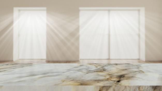 Mesa de mármore 3d contra um interior de sala defocussed