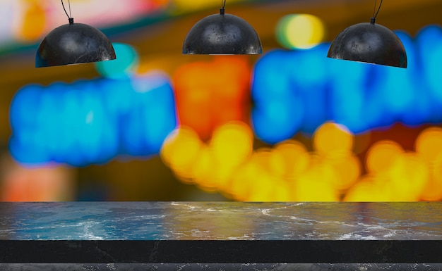 Mesa de mármore vazia com lâmpadas pretas